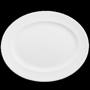 churchill plain whiteware oval rimmed dish 14 3 8 x 11 1 2 36 5cm